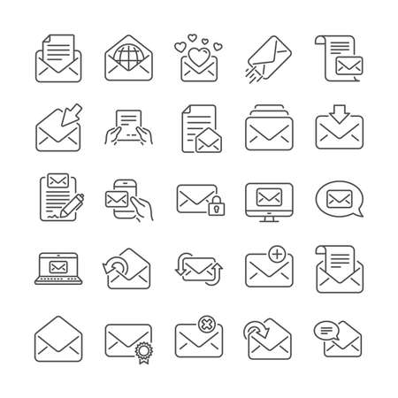 Mail message line icons. Email document, Newsletter, Correspondence icons. Received mail, Secure message and Web letter. Post office newsletter, Send email document, private communication. Vector 矢量图像