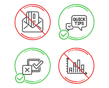 Do or Stop. Quick tips, Checkbox and Credit card icons simple set. Diagram graph sign. Helpful tricks, Survey choice, Mail. Presentation chart. Education set. Line quick tips do icon. Vector