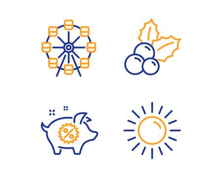 Christmas holly, Ferris wheel and Piggy sale icons simple set. Sun sign. Ilex aquifolium, Attraction park, Discounts. Summer. Holidays set. Linear christmas holly icon. Colorful design set. Vector