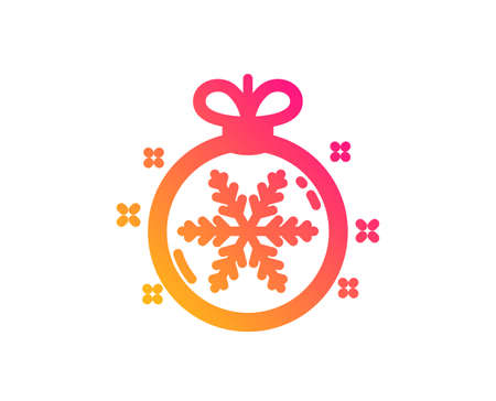 Christmas ball with snowflake icon. New year tree decoration sign. Classic flat style. Gradient christmas ball icon. Vector