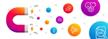 Magnet attracting. Like, Share mail and Winner icons simple set. Smile, Messenger and Search file signs. Thumbs up, New e-mail. Business set. Line like icon. Editable stroke. Vector Illustration