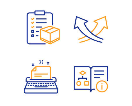Typewriter, Parcel checklist and Intersection arrows icons simple set. Technical algorithm sign. Instruction, Logistics check, Exchange. Project doc. Industrial set. Linear typewriter icon. Vector