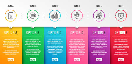 Delete file, Parking and Skin care icons simple set. Currency, Refund commission and Confirmed signs. Remove document, Park pointer. Business set. Infographic template. 6 steps timeline. Vector
