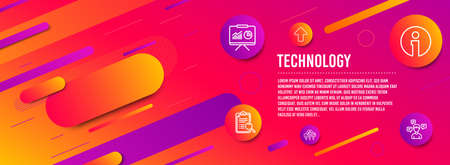Header banner. Info, Search analysis and Like icons simple set. Presentation, Upload and Conversation messages signs. Information, Find survey. Technology set. Line info icon. Gradient elements