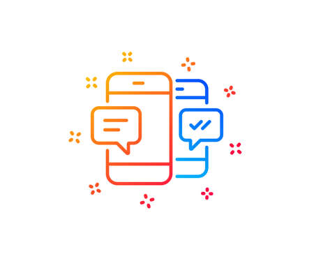 Phone Message line icon. Mobile chat sign. Conversation or SMS symbol. Gradient design elements. Linear smartphone SMS icon. Random shapes. Vector Иллюстрация
