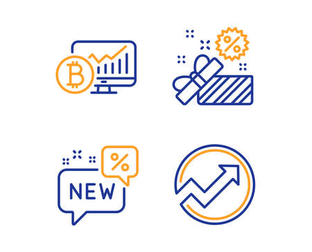 Bitcoin chart, Sale and New icons simple set. Audit sign. Cryptocurrency statistics, Gift box, Discount. Arrow graph. Finance set. Linear bitcoin chart icon. Colorful design set. Vector