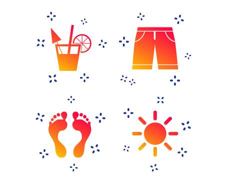 Beach holidays icons. Cocktail, human footprints and swimming trunks signs. Summer sun symbol. Random dynamic shapes. Gradient vacation icon. Vector