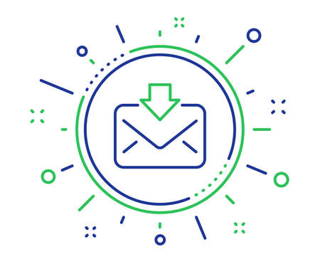 Mail download line icon. Incoming Messages correspondence sign. E-mail symbol. Quality design elements. Technology incoming Mail button. Editable stroke. Vector