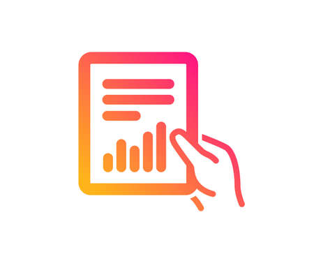 Hold Report document icon. Analysis Chart or Sales growth sign. Statistics data symbol. Classic flat style. Gradient document icon. Vector Illustration