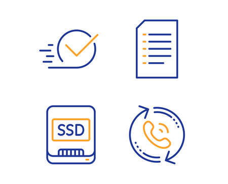 Ssd, Checkbox and Document icons simple set. Call center sign. Memory disk, Approved, Information file. Recall. Business set. Linear ssd icon. Colorful design set. Vector Illustration