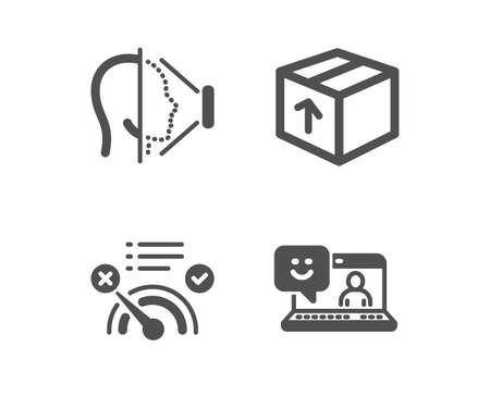 Set of Face id, Package and No internet icons. Smile sign. Phone scanning, Delivery pack, Bandwidth meter. Laptop feedback.  Classic design face id icon. Flat design. Vector Ilustração