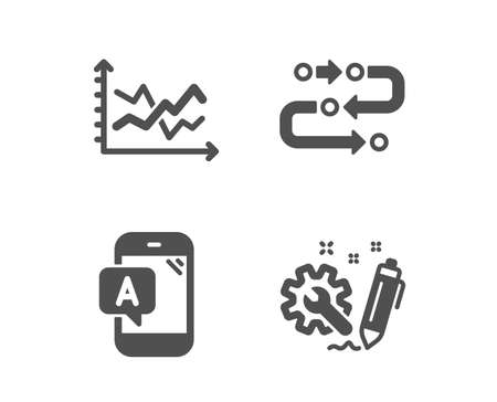 Set of  testing, Diagram chart and Methodology icons. Engineering sign. Phone test, Presentation graph, Development process. Construction.  Classic design testing icon. Flat design. Vector