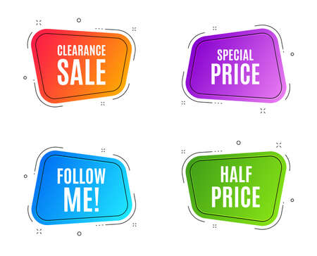 Geometric banners. Special price symbol. Sale sign. Advertising Discounts symbol. Follow me banner. Clearance sale. Vector