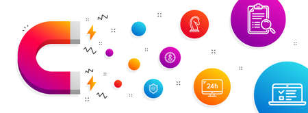 Magnet attracting. Search analysis, Marketing strategy and Headhunting icons simple set. 24h service, Approved shield and Web lectures signs. Find survey, Chess knight. Line search analysis icon