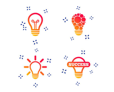Light lamp icons. Circles lamp bulb symbols. Energy saving. Idea and success sign. Random dynamic shapes. Gradient lamp icon. Vector Standard-Bild - 124283117