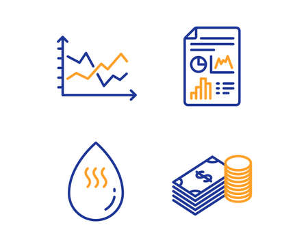 Hot water, Report document and Diagram chart icons simple set. Savings sign. Aqua drop, Growth chart, Presentation graph. Finance currency. Business set. Linear hot water icon. Colorful design set Archivio Fotografico - 119629738
