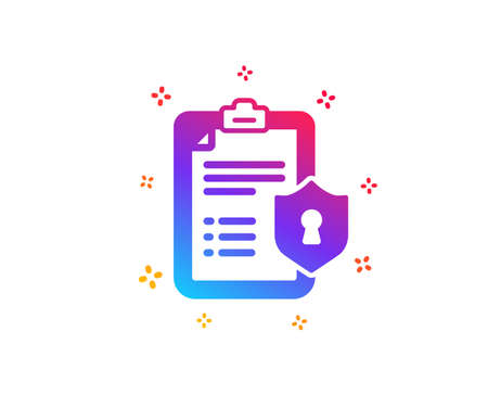 Checklist icon. Privacy policy document sign. Dynamic shapes. Gradient design privacy policy icon. Classic style. Vector