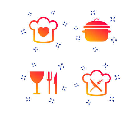 Chief hat with heart and cooking pan icons. Crosswise fork and knife signs. Boil or stew food symbol. Random dynamic shapes. Gradient cooking icon. Vector