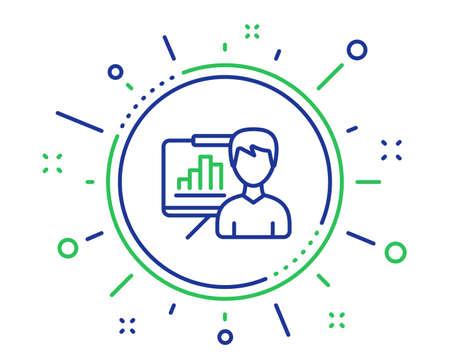 Presentation board line icon. Column graph sign. Growth diagram symbol. Quality design elements. Technology presentation board button. Editable stroke. Vector Illustration