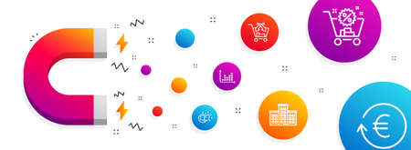 Magnet attracting. Shopping cart, Paint brush and Cross sell icons simple set. Company, Dot plot and Exchange currency signs. Discount, Creativity. Business set. Line shopping cart icon. Vector