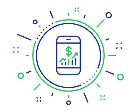 Icono de línea de finanzas móviles. Signo de auditoría empresarial. Compruebe el símbolo de inversión. Elementos de diseño de calidad. Botón de finanzas móviles de tecnología. Trazo editable. Vector