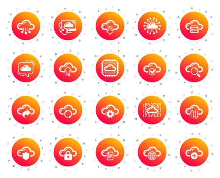 Cloud data and technology icons. Set of Hosting, Computing data and File storage icons. Archive, Download, Share cloud files. Sync technology, Web server, Storage access. Gradient buttons set. Vector  イラスト・ベクター素材