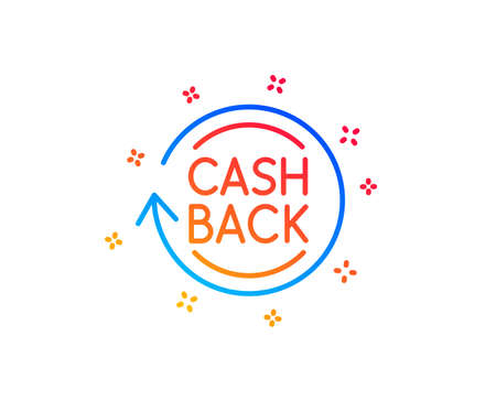 Cashback service line icon. Money transfer sign. Rotation arrow symbol. Gradient design elements. Linear cashback icon. Random shapes. Vector