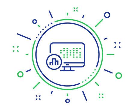 Report statistics line icon. Column graph sign. Growth diagram symbol. Quality design elements. Technology report statistics button. Editable stroke. Vector
