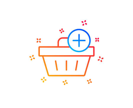 Add to Shopping cart line icon. Online buying sign. Supermarket basket symbol. Gradient design elements. Linear add purchase icon. Random shapes. Vector