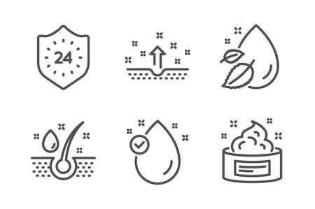 24 horas, conjunto simple de iconos de gota de agua y aceite de suero. Piel limpia, signos de vitamina E y crema para la piel. Protección, cabellos sanos. Conjunto de belleza. Icono de línea 24 horas. Trazo editable. Vector Ilustración de vector