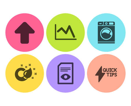 Washing machine, View document and Paint brush icons simple set. Line chart, Upload and Quickstart guide signs. Laundry service, Open file. Business set. Flat washing machine icon. Circle button