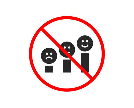 No or Stop. Customer satisfaction icon. Positive feedback sign. Smile chart symbol. Prohibited ban stop symbol. No customer satisfaction icon. Vector Illustration