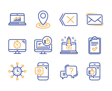 Weather phone, Messenger mail and Checklist icons simple set. Remove, World time and Question mark signs. Like video, Start business and Location symbols. Line weather phone icon. Colorful set Illustration