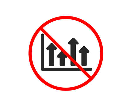 No or Stop. Growth chart icon. Financial graph sign. Upper Arrows symbol. Business investment. Prohibited ban stop symbol. No upper arrows icon. Vector
