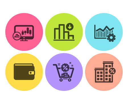 Shopping cart, Money wallet and Operational excellence icons simple set. Candlestick chart, Decreasing graph and Loan house signs. Discount, Payment method. Finance set. Flat shopping cart icon Ilustração