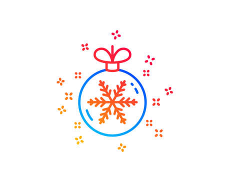 Christmas ball with snowflake line icon. New year tree decoration sign. Gradient design elements. Linear christmas ball icon. Random shapes. Vector