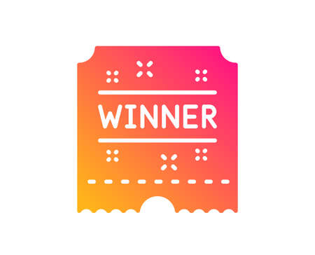 Winner ticket icon. Amusement park award sign. Classic flat style. Gradient winner ticket icon. Vector