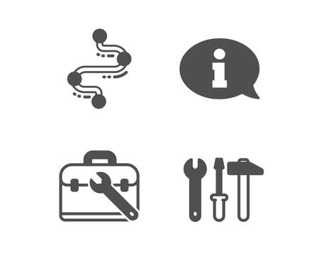 Set of Information, Tool case and Timeline icons. Spanner tool sign. Info center, Repair service, Journey path. Repair screwdriver.  Classic design information icon. Flat design. Vector Ilustrace