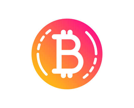 Bitcoin icon. Cryptocurrency coin sign. Crypto money symbol. Classic flat style. Gradient bitcoin icon. Vector