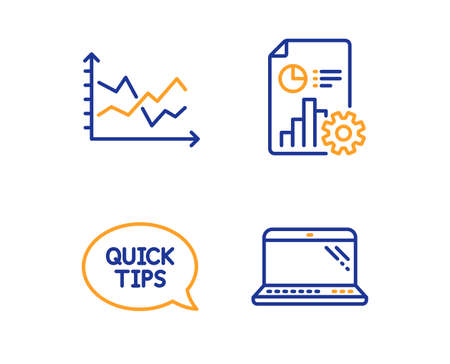 Quickstart guide, Report and Diagram chart icons simple set. Laptop sign. Helpful tricks, Presentation document, Presentation graph. Computer. Science set. Linear quickstart guide icon. Vector