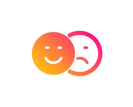Like and dislike icon. Smile sign. Social media feedback symbol. Classic flat style. Gradient like icon. Vector
