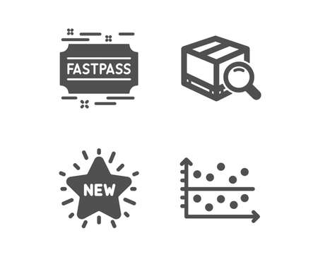 Set of Fastpass, Search package and New star icons. Dot plot sign. Entrance ticket, Tracking service, Shopping. Presentation graph.  Classic design fastpass icon. Flat design. Vector Illustration