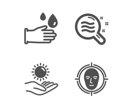Set of Skin condition, Sun protection and Rubber gloves icons. Face detect sign. Search magnifier, Ultraviolet care, Hygiene equipment. Select target.  Classic design skin condition icon. Flat design 写真素材 - 119630193
