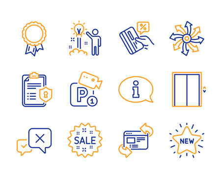 Sale, Creative idea and Reject icons simple set. Privacy policy, Lift and Credit card signs. Versatile, Parking security and Success symbols. Refresh website, Information and New star. Line sale icon