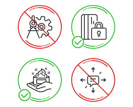 Do or Stop. Blocked card, Skin care and Cogwheel dividers icons simple set. Sms sign. Private money, Hand cream, Settings. Conversation. Business set. Line blocked card do icon. Prohibited ban stop