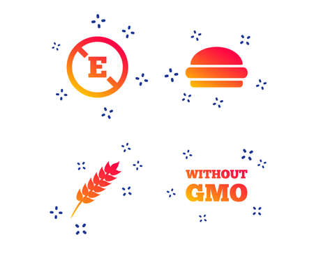 Food additive icon. Hamburger fast food sign. Gluten free and No GMO symbols. Without E acid stabilizers. Random dynamic shapes. Gradient hamburger icon. Vector