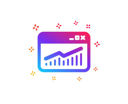 Website Traffic icon. Report chart or Sales growth sign. Analysis and Statistics data symbol. Dynamic shapes. Gradient design website Statistics icon. Classic style. Vector