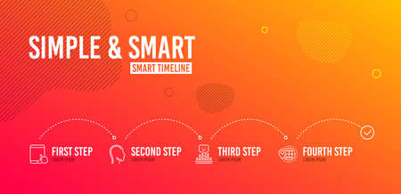 Infographic timeline. Head, Tablet pc and Smile icons simple set. World travel sign. Human profile, Touchscreen gadget, Positive feedback. Map pointer. Business set. 4 steps layout. Vector