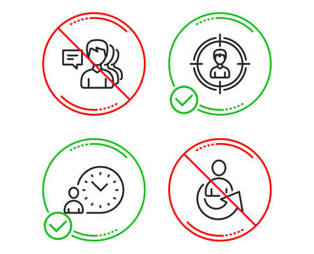 Do or Stop. People, Headhunting and Time management icons simple set. Share sign. Support job, Person in target, Work time. Referral person. People set. Line people do icon. Prohibited ban stop