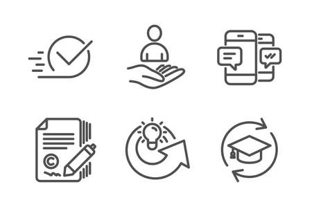 Recruitment, Smartphone sms and Copywriting icons simple set. Share idea, Checkbox and Continuing education signs. Hr, Mobile messages. Education set. Line recruitment icon. Editable stroke. Vector